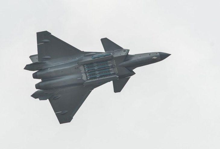 Chengdu J 20 showing its missiles