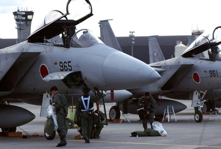 Japanese Air Self Defense Force work on F 15J