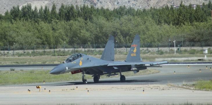 Shenyang J-11 Fighter at Lhasa Airport