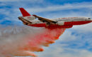McDonnell Douglas DC 10 30 Air Tanker dumping its load in Las Vegas during Aviation Nation 2016 Air Show