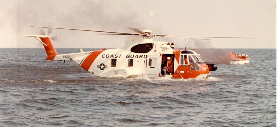 USCG HH 3F Pelican on the water.