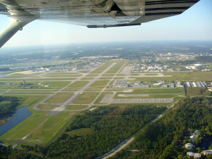 Aerial view of runway 7R Daytona Beach International Airport