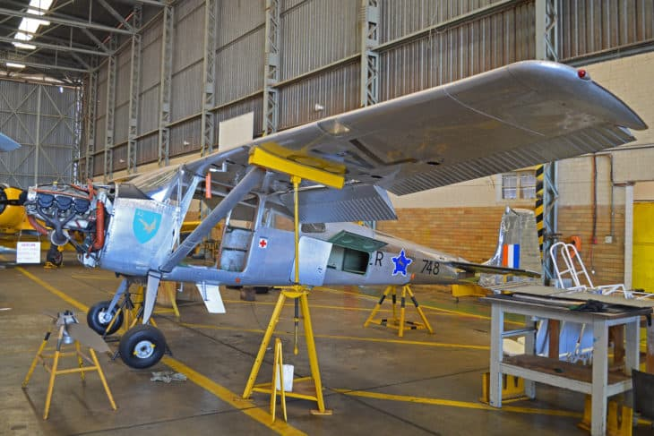 Cessna A.185E Skywagon 748 under maintenance in the South African Air Force Historic Flight hangar at Swartkop AFB Pretoria South Africa