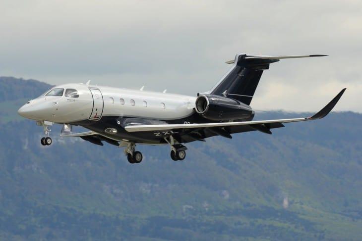 Embraers demonstrator Praetor 500 PR ZXL inbound to Geneva