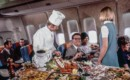 First Class Dinner being served on board SAS Huge Viking Boeing 747
