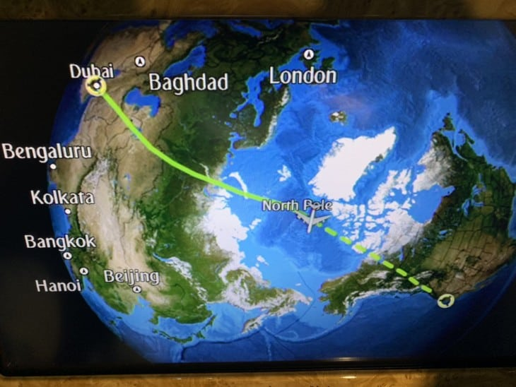 For the A380 flight from Dubai to San Francisco Emirates flew directly over the North Pole