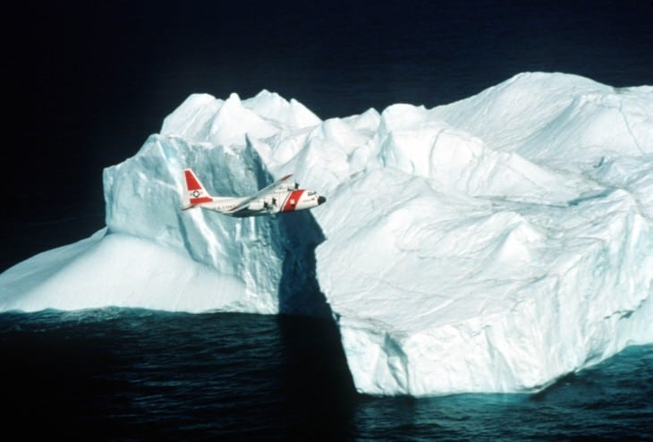 US Coast Guard Plane Flying over Polar region