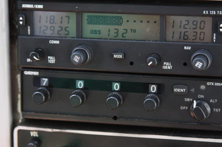 VOR and XPDR instruments in a Cessna 172