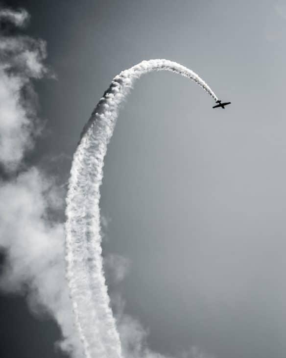 airplane contrail grayscale photo 1769303
