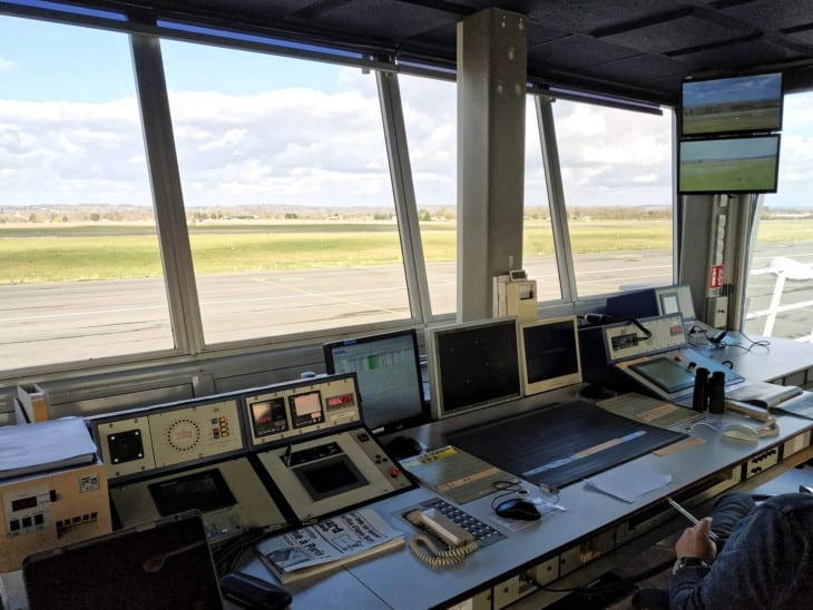 Inside Air Traffic Control Tower at Bergerac Airport
