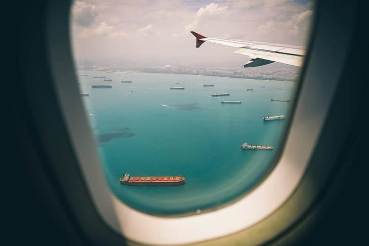 Looking out of airplane window
