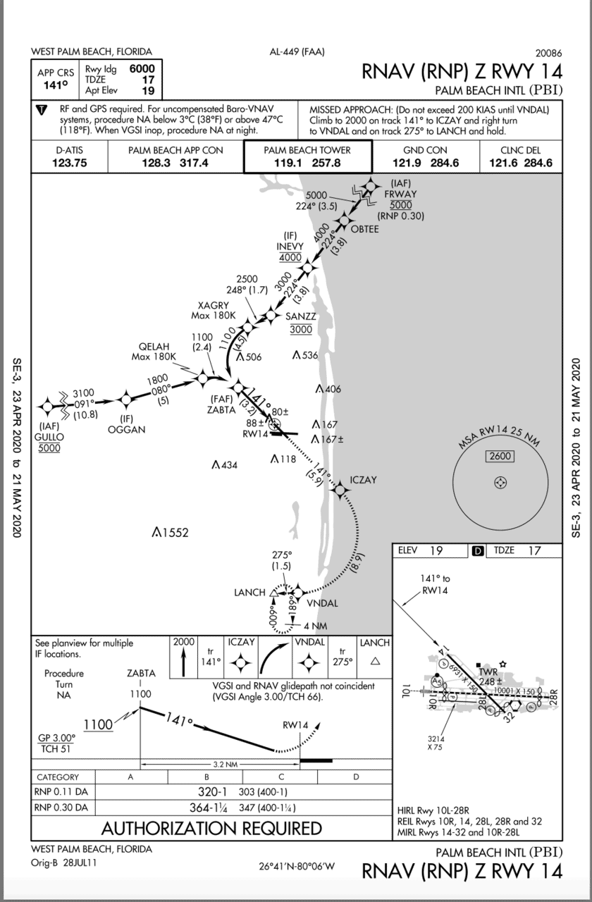 RNAV RNP Approach into West Palm Beach Florida. Note Authorization Required