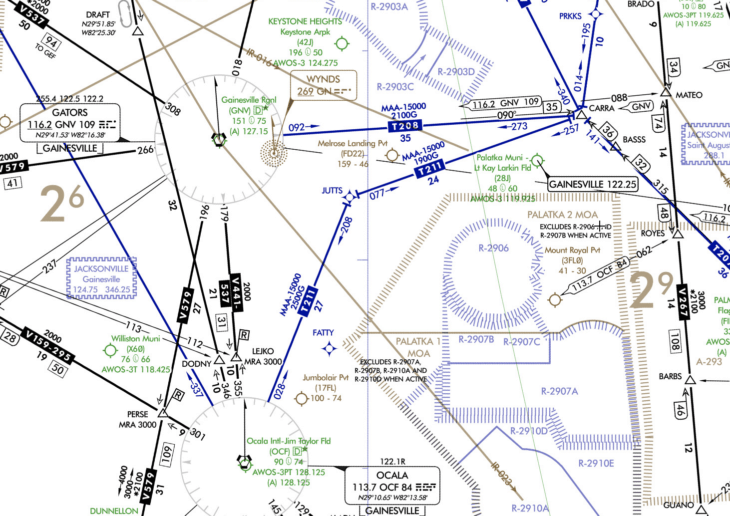Several RNAV T Routes Shown on the Central Florida Low En Route Chart