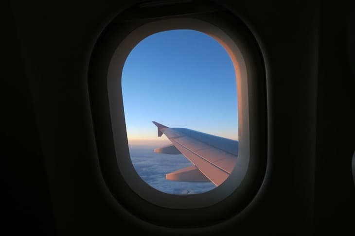 Wing view out of airplane window