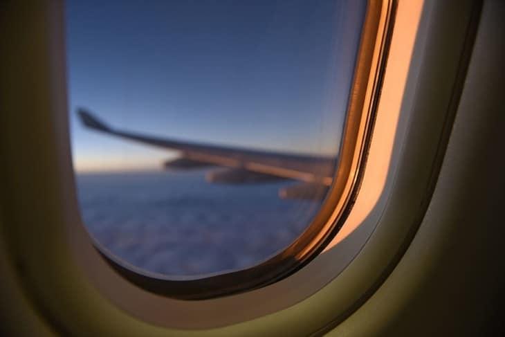 airplane window close up