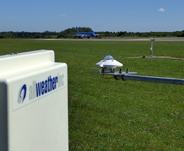 meteorological sensors for solar radiation center and runway visual range right in the foreground
