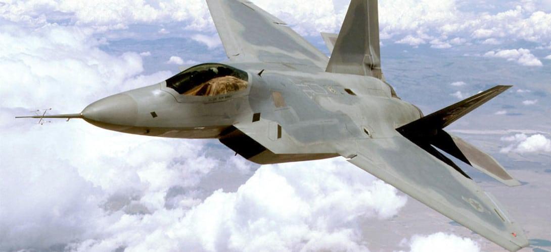 F 22 Raptor above Mojave Desert