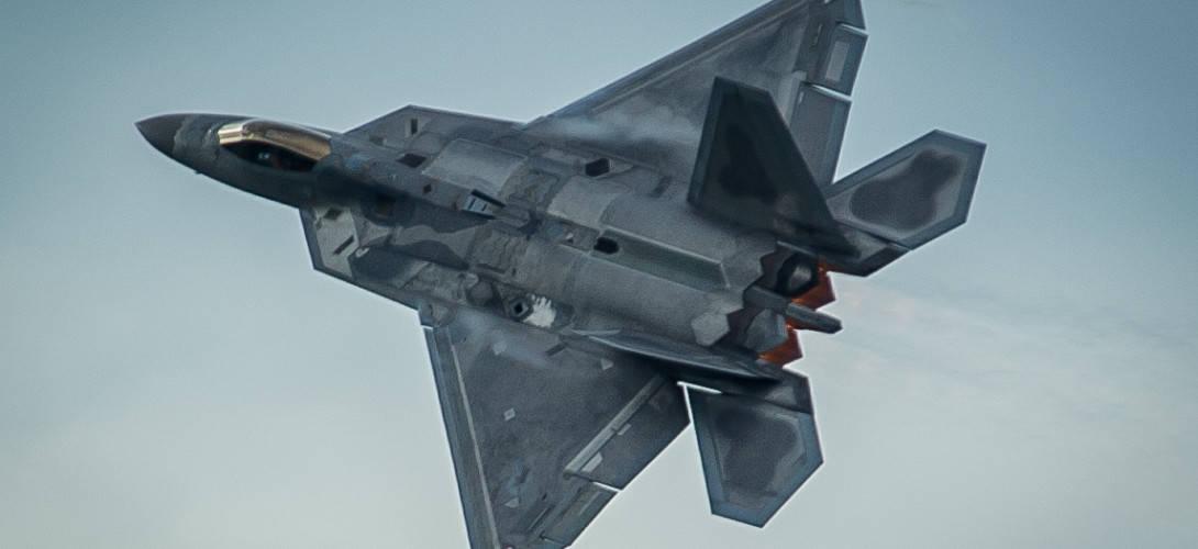 F 22 Raptor takes off