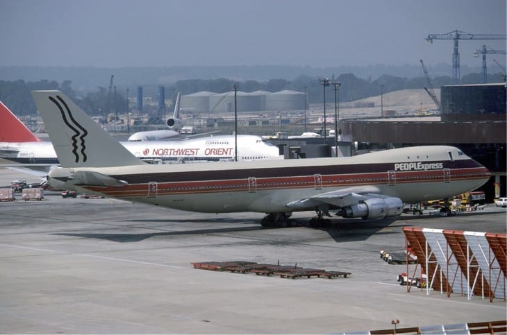 People Express Boeing 747 at London Gatwick in June 1983