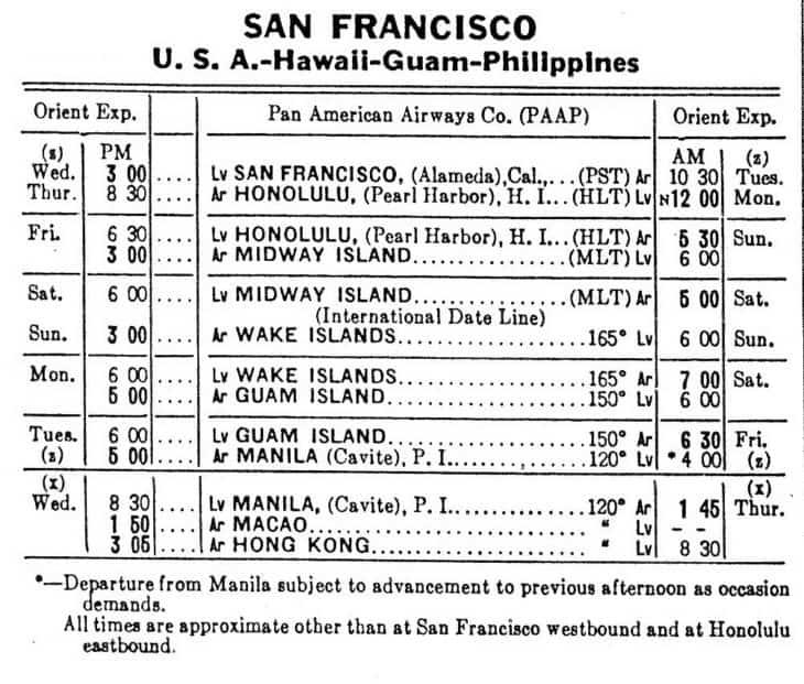 San Francisco Manila Hong Kong Clipper Schedule