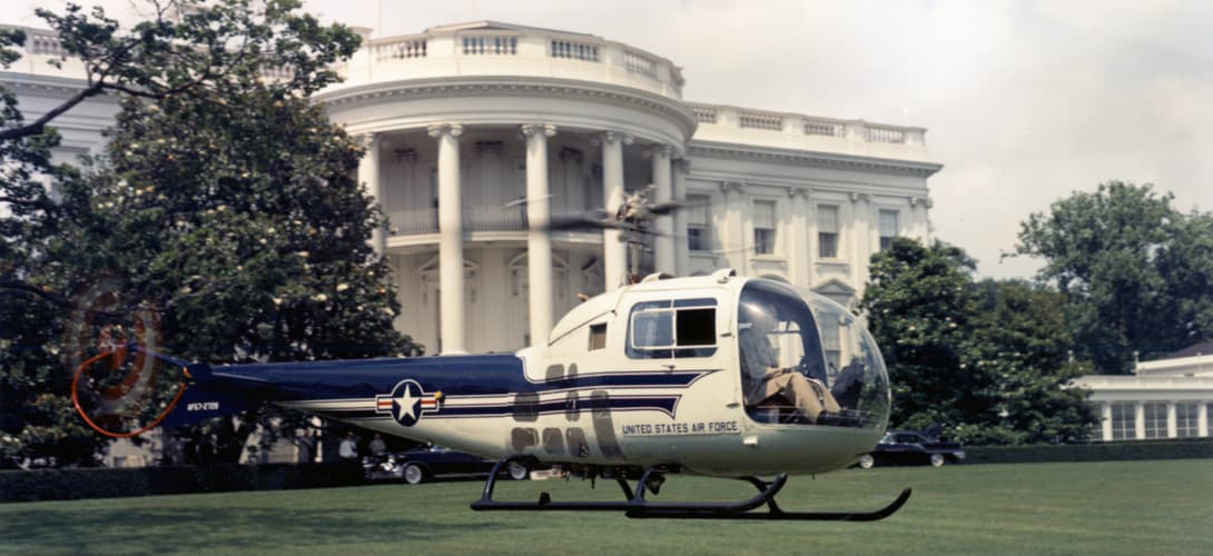 Bell UH 13J landing on the West Lawn of the White House.