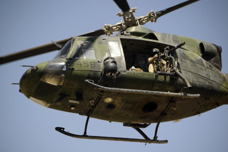 Canadian CH 146 helicopter providing close air support.