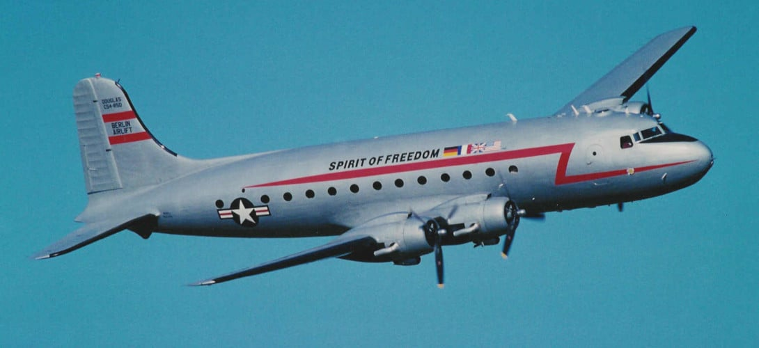 Douglas C 54 Skymaster used in the Berlin Airlift.