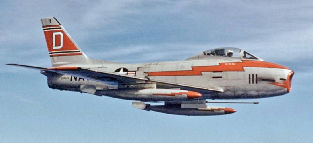 A U.S. Navy North American FJ 3M Fury from Fighter Squadron VF 121 Peacemakers