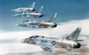 A formation of four U.S. Air Force North American F 100C Super Sabres