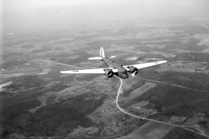 Martin B 10B in flight.