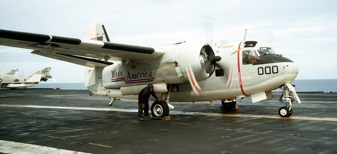 U.S. Navy Grumman C 1A Trader aircraft on the flight deck of the aircraft carrier USS America.
