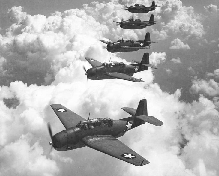 Five U.S. Navy Grumman TBF 1 Avengers from Escort Scouting Squadron 29 flying in formation