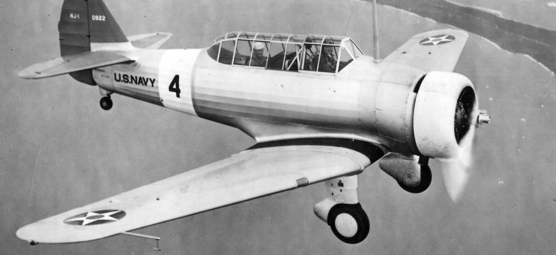 North American NJ 1 in flight 1938