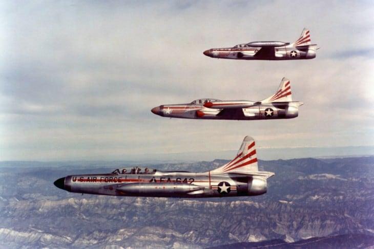 Three U.S. Air Force Lockheed F 94C Starfire interceptors of the 354th Fighter Interceptor Squadron.