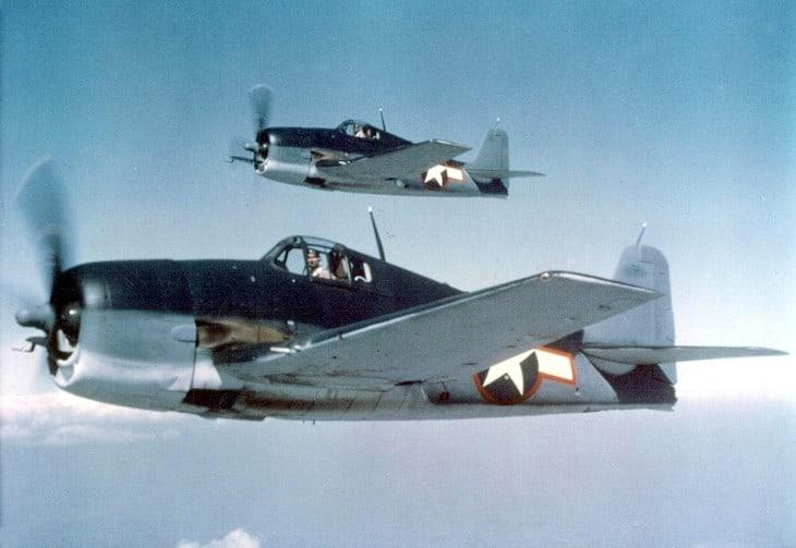 Two U.S. Navy Grumman F6F 3 Hellcats