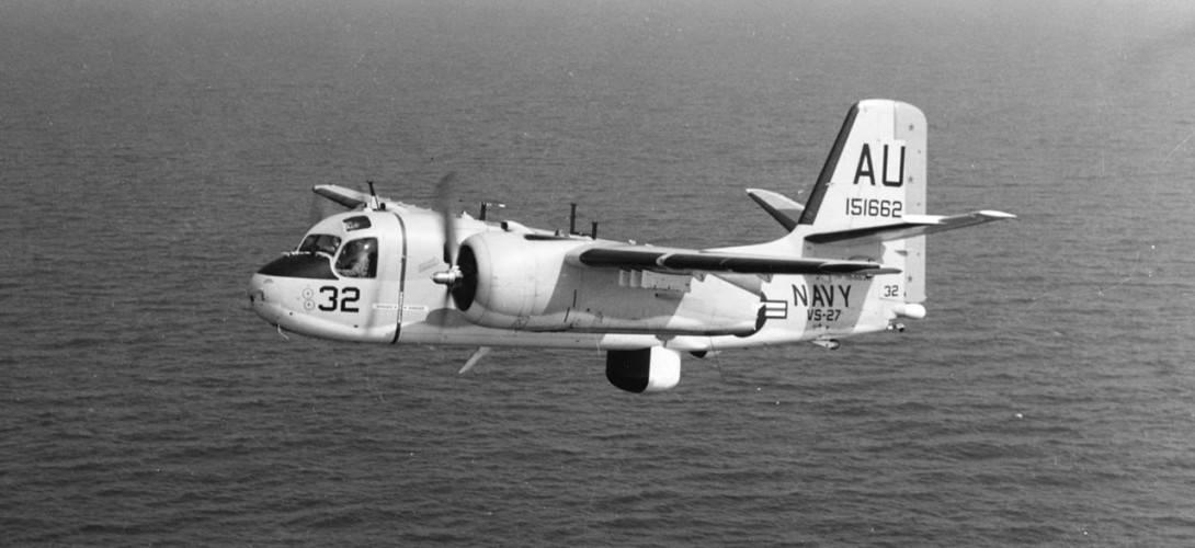 U.S. Navy Grumman S 2E Tracker of Anti Submarine Squadron 27 VS 27 Pelicans in flight.
