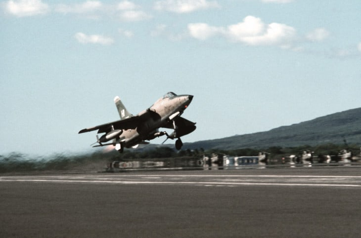 A U.S. Air Force Reserve Republic F 105B Thunderchief from the 466th Tactical Fighter Squadron taking ff.