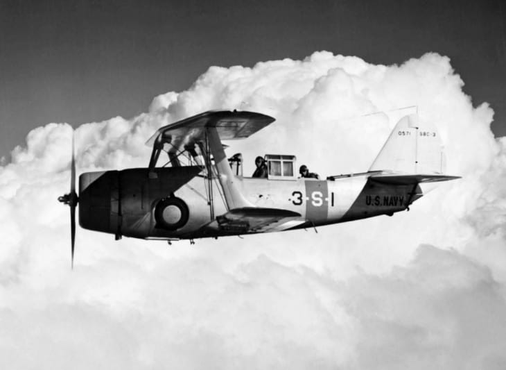 A U.S. Navy Curtiss SBC 3 Helldiver assigned to Scouting Squadron Three VS 3 in flight.