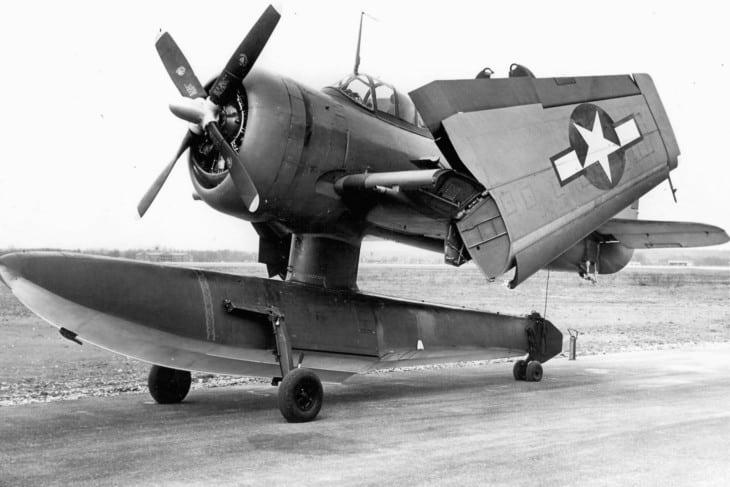 A U.S. Navy Curtiss SC 1 Seahawk with wings folded.