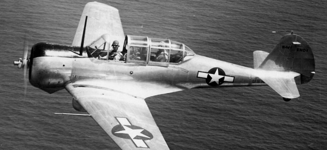 A U.S. Navy Curtiss SNC 1 Falcon trainer from Fleet Air Wing 11 in flight near San Juan Puerto Rico in 1943.