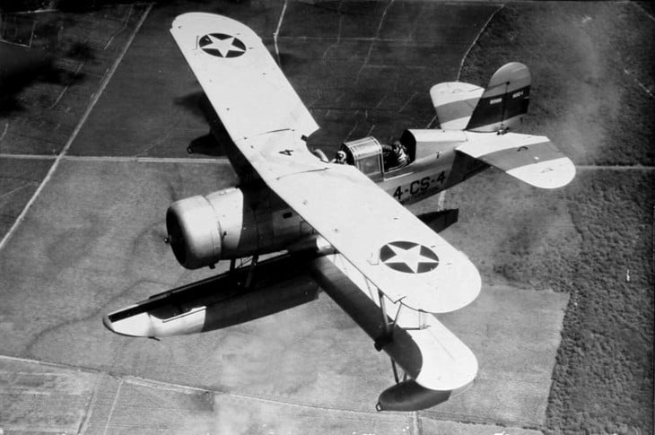 A U.S. Navy Curtiss SOC 1 Seagull of Cruiser Scouting Squadron 4 in flight over Hawaii.