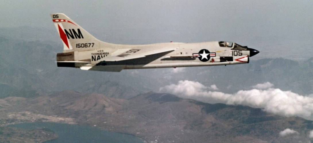A U.S. Navy Vought F 8E Crusader of Fighter Squadron VF 191 in flight.