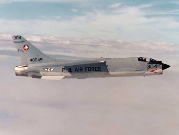A Vought F 8H Crusader of the Philippine Air Force in flight.