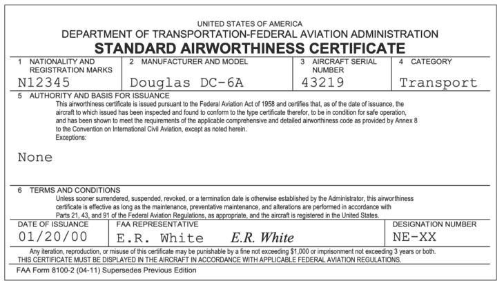FAA Standard Airworthiness Certificate