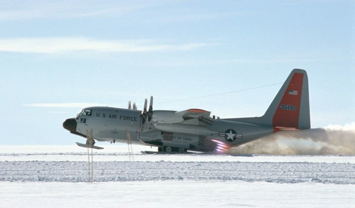LC 130 Hercules taking off from the Greenland Icecap