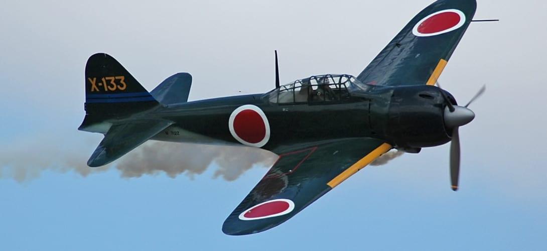 Mitsubishi A6M 3 Zero in flight.