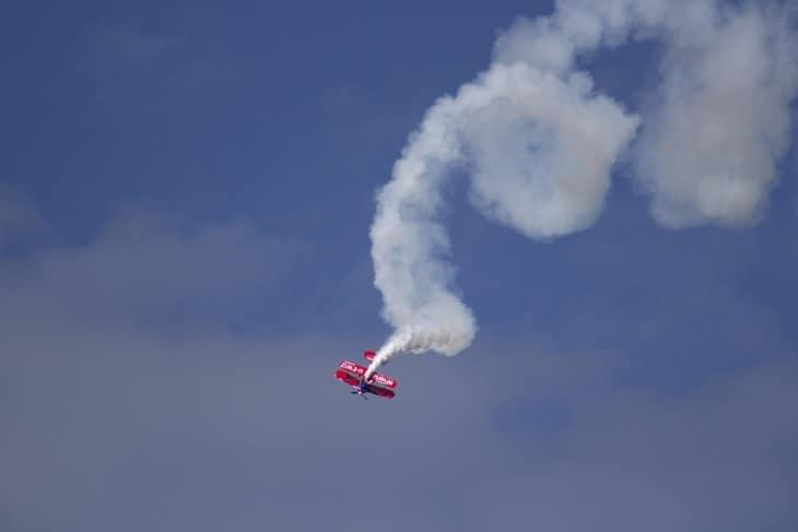 Spinning airshow stunt plane
