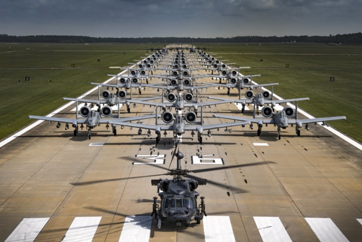 Squadrons of 30 A 10C Thunderbolt IIs HH 60G Pave Hawks and.HC 130J Combat King II