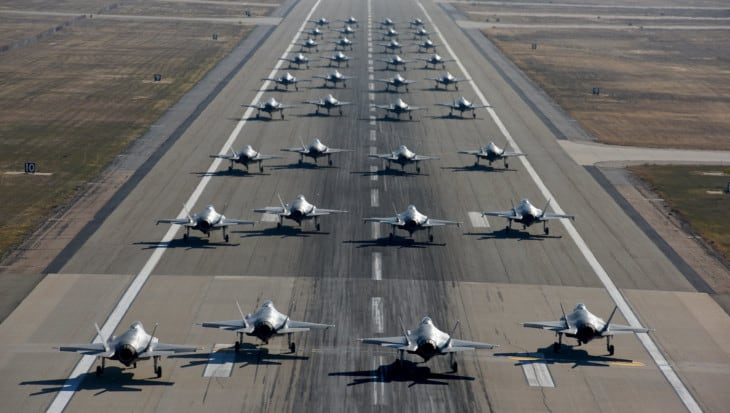 Squadrons of the 388th and 419th Fighter Wings taxi F 35As on the runway