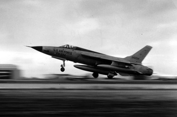 The U.S. Air Force Republic F 105D 25 RE Thunderchief taking off.